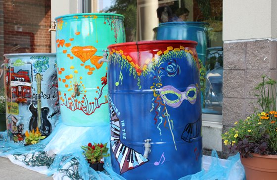 Three rain barrels from the 2013 Roll Out the Barrels event.