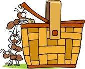 Ants raiding picnic basket clip art