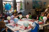 Children working on art projects