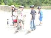 Boys on skateboards at the skate park