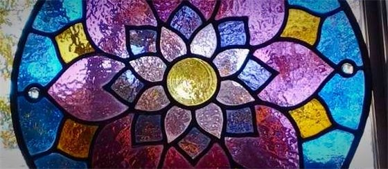 stained glass window with flower design
