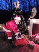 Santa unloading his gift sack