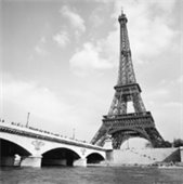 black and white photo of the Eiffel Tower