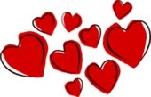 illustrations of red hearts