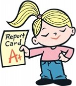 Girl holding report card with A+