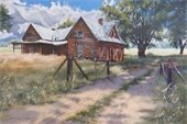 Painting of derelict old house