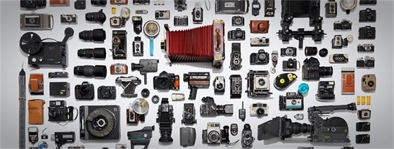 large assortment of movie camera items