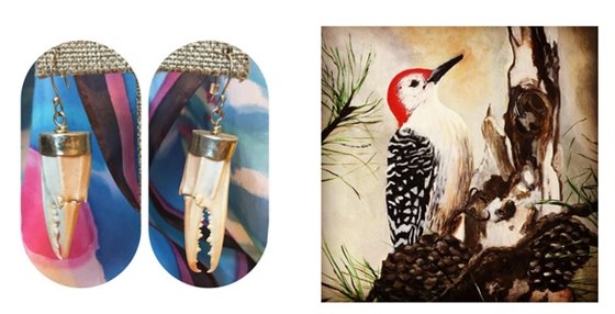 Crab leg earrings and a painting of a woodpecker