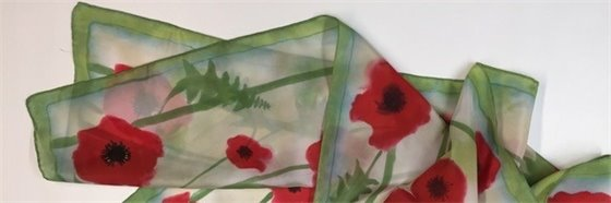 scarf featuring red poppies