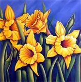 Painting of yellow daffodils