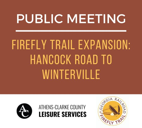 public meeting announcement- burgundy background with yellow text, ACC Leisure Services logo, Firefly Trail logo