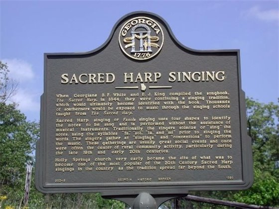 Historical marker noting sacred harp singing