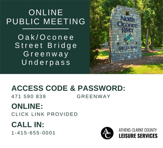 green background, white text, photo of north oconee river greenway sign in shaded grassy area