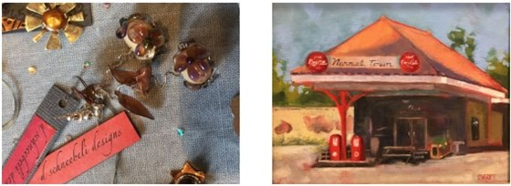 Two images, one showing handmade jewelry and another showing a painting of a local pizza restaurant