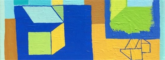 Timothy Adams painting with geometric shapes