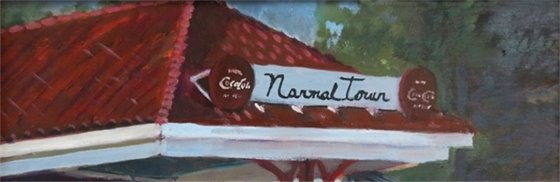 Painting of red roof with Normaltown sign