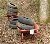 Tires littered in the woods