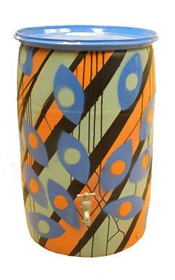 Kim Deakins - Untitled Barrel (Orange, green, and blue)