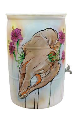 Mike Groves - Untitled Barrel (Skull and flowers)