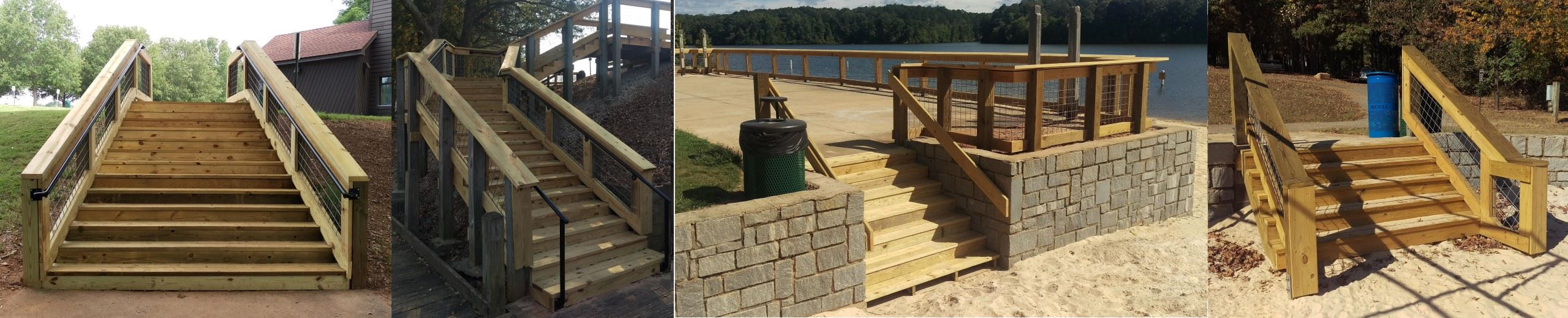Photos collage of the four 2016 beachfront improvement projects at Sandy Creek Park.