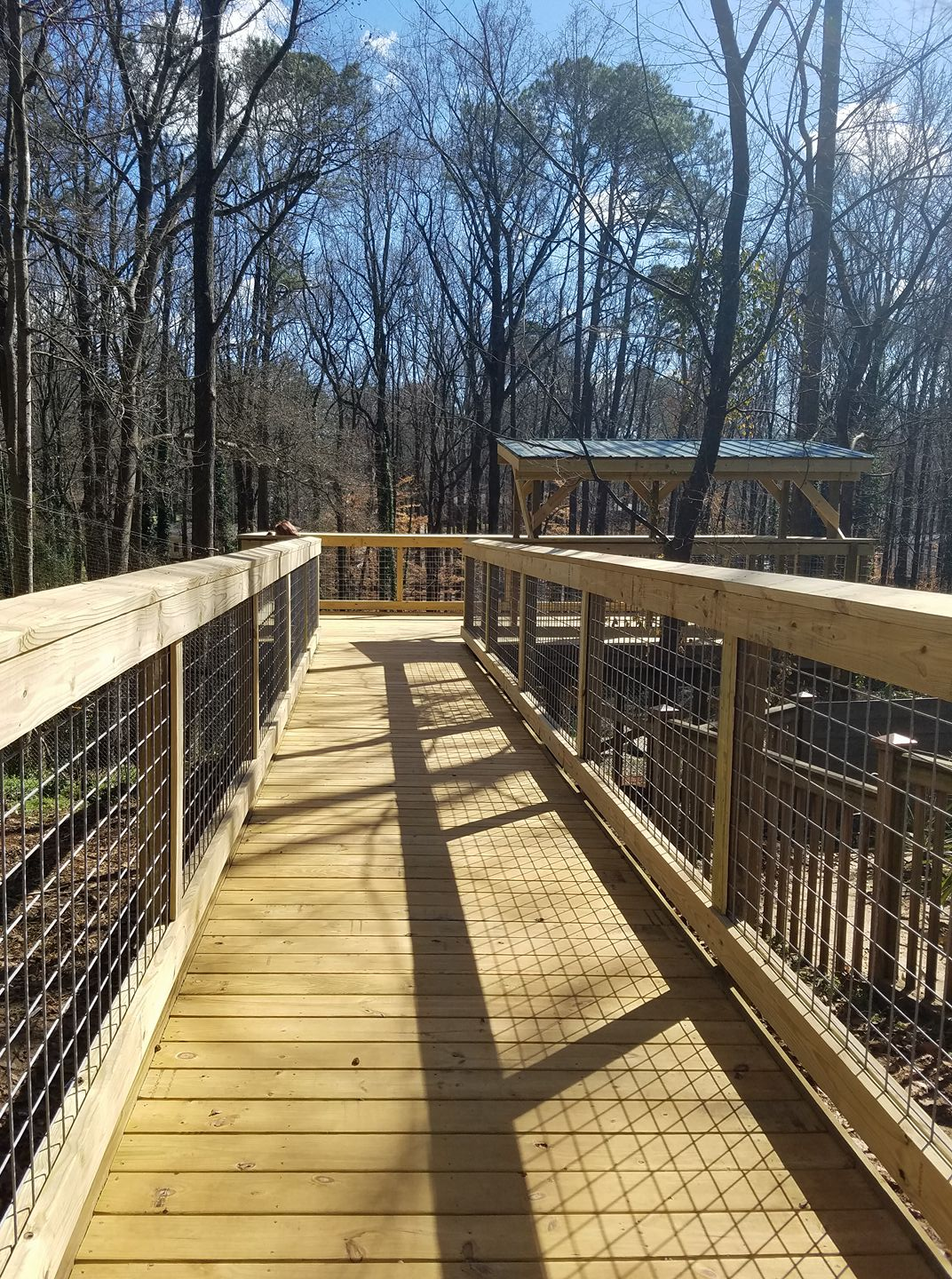 Picture of the newly completed replacement observation deck for the bear and eagle exhibits at Bear