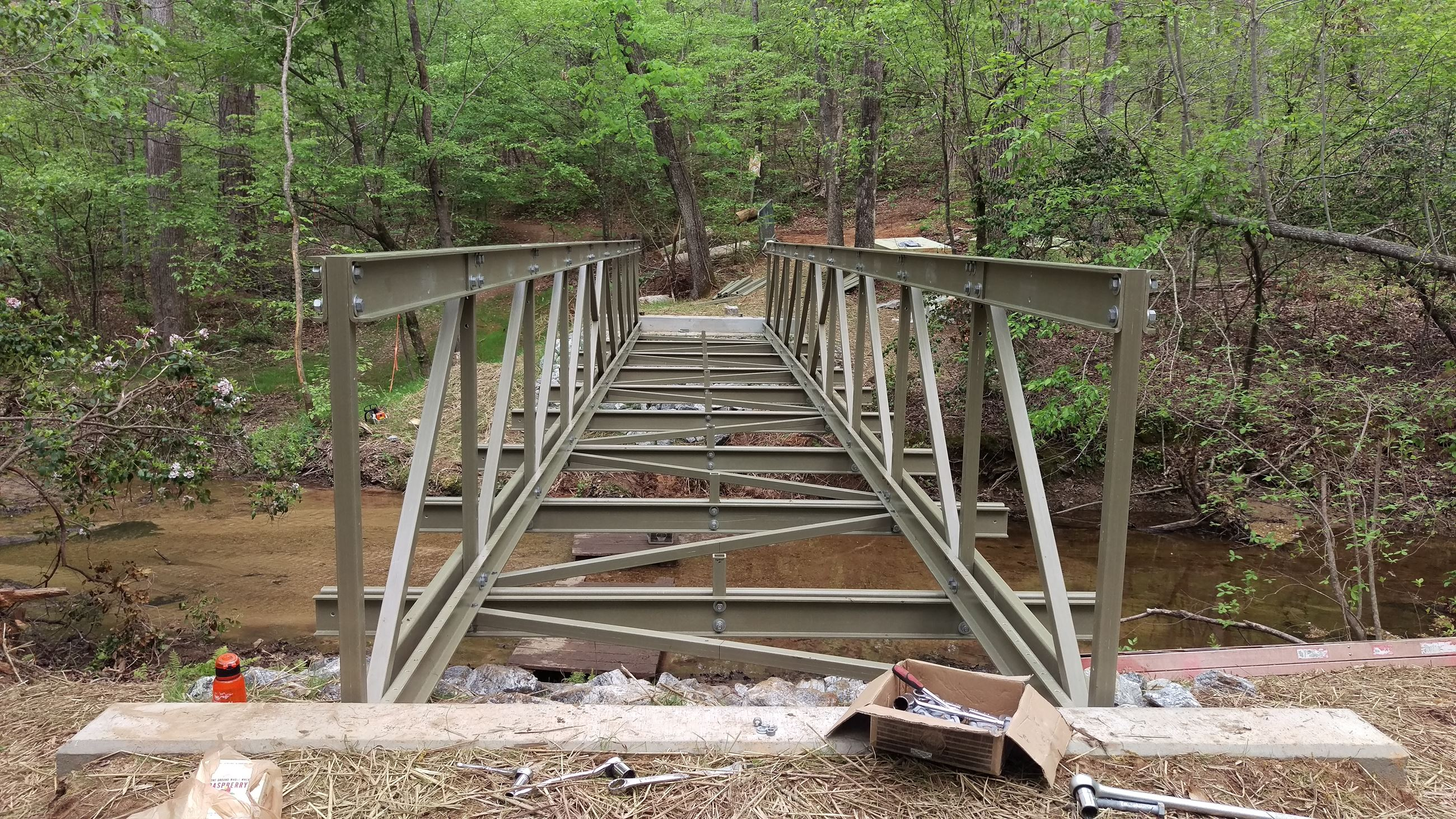 Photo of assembled bridge structure for the replacement Bridge #4 on Lakeside Trail at Sandy Creek P