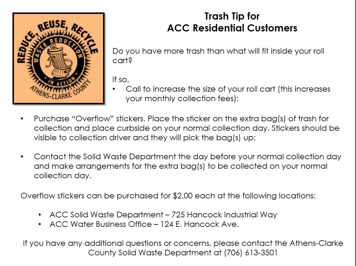 Trash Tip for ACC Residential Customers - Overflow 7.26.2017