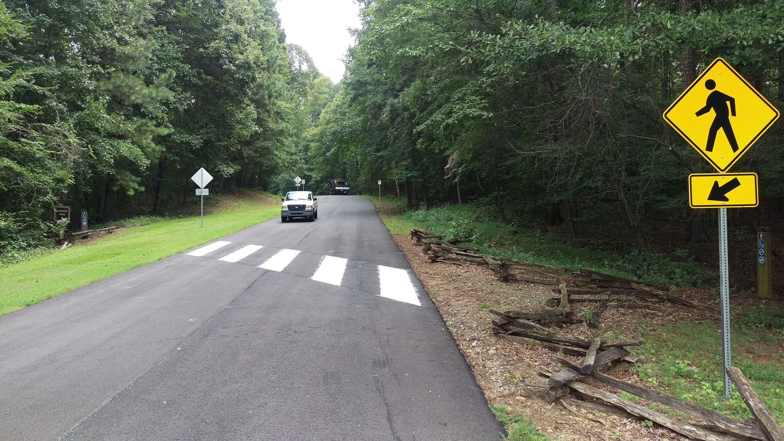 Photo of one of the new crosswalks on Sandy Creek Park's Roadways.