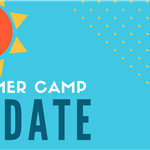 blue background with orange sun, summer camp registration dates