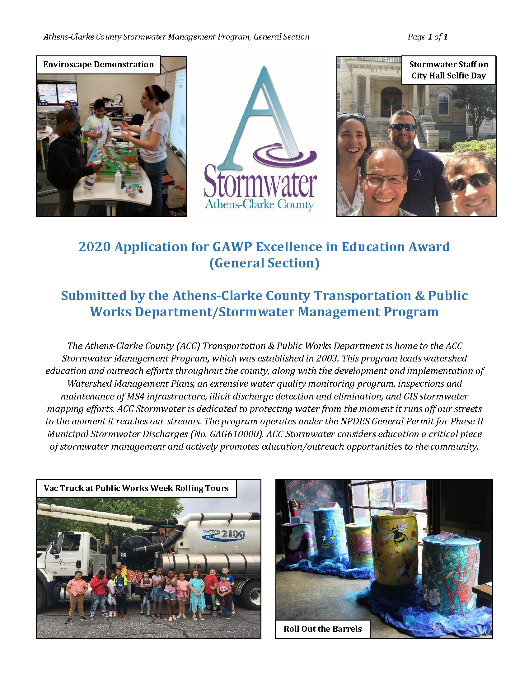 ACC Stormwater GAWP Award App Cover Page 1