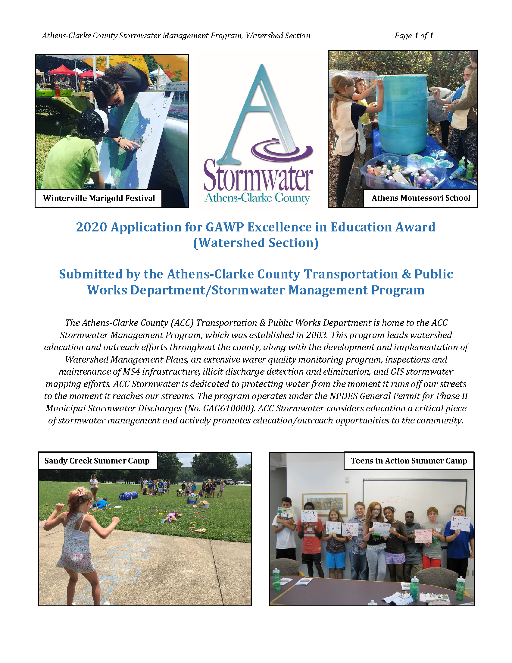 ACC Stormwater GAWP Award App Cover Page 2