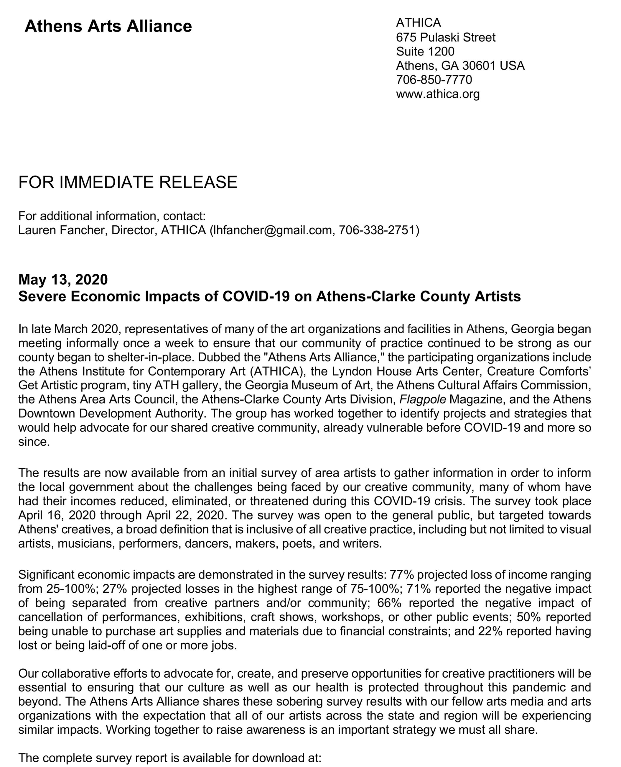 ATHENSARTSALLIANCE_PressRelease_COVID19ImpactsOnArtists_May2020-2