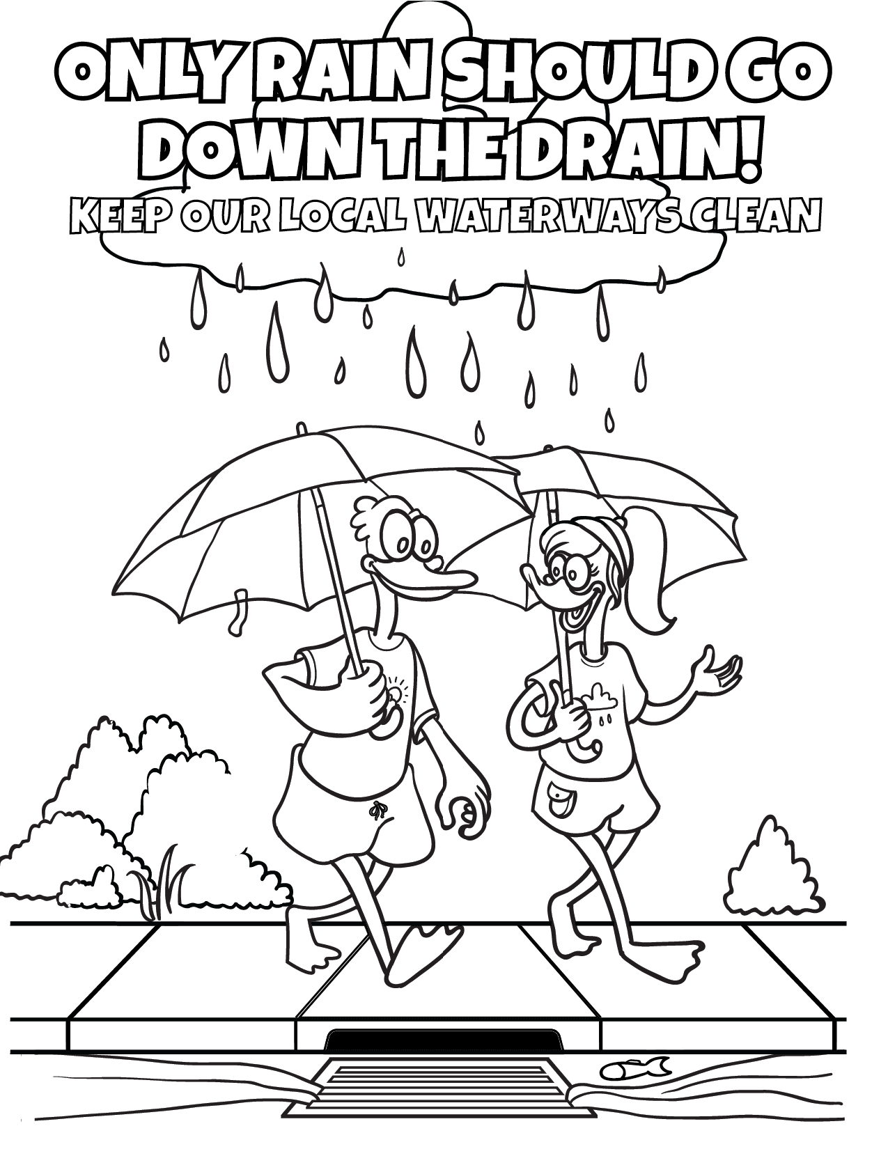 Only Rain Down the Storm Drain Coloring Sheet - English