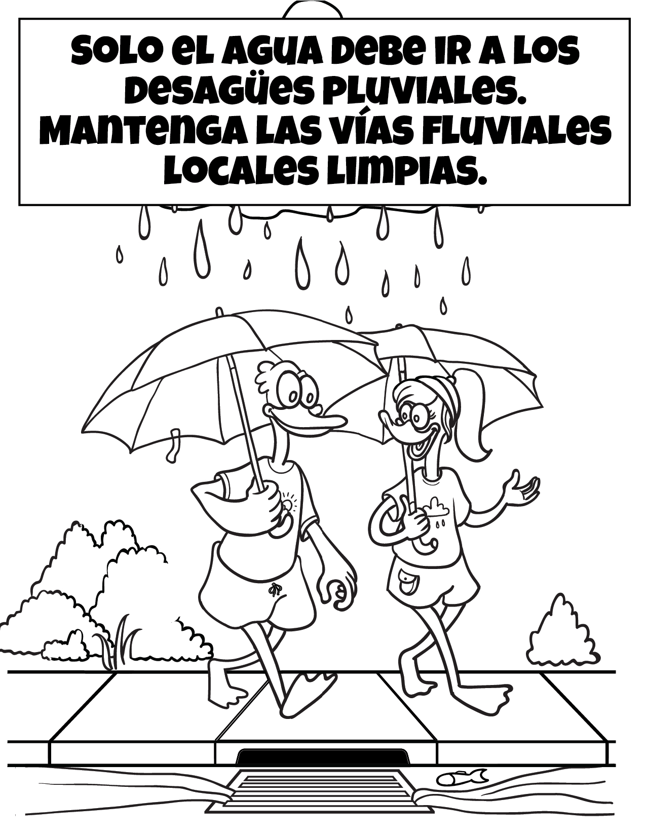 Only Rain Down the Storm Drain Coloring Sheet - Spanish