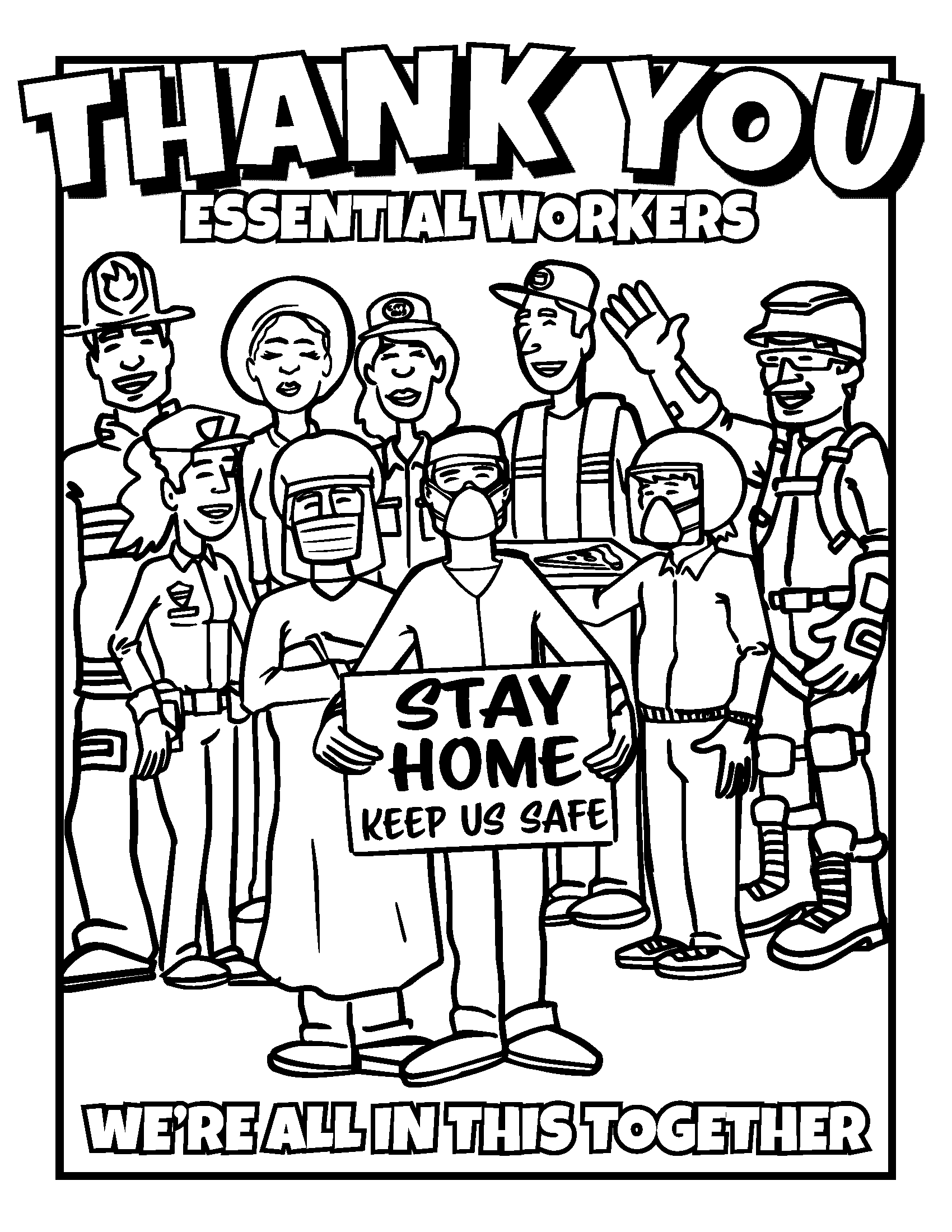 Thank You Essential Workers Coloring Sheet