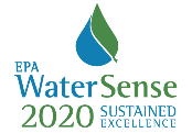 2020 Sustained Excellence words with green and blue WaterSense logo
