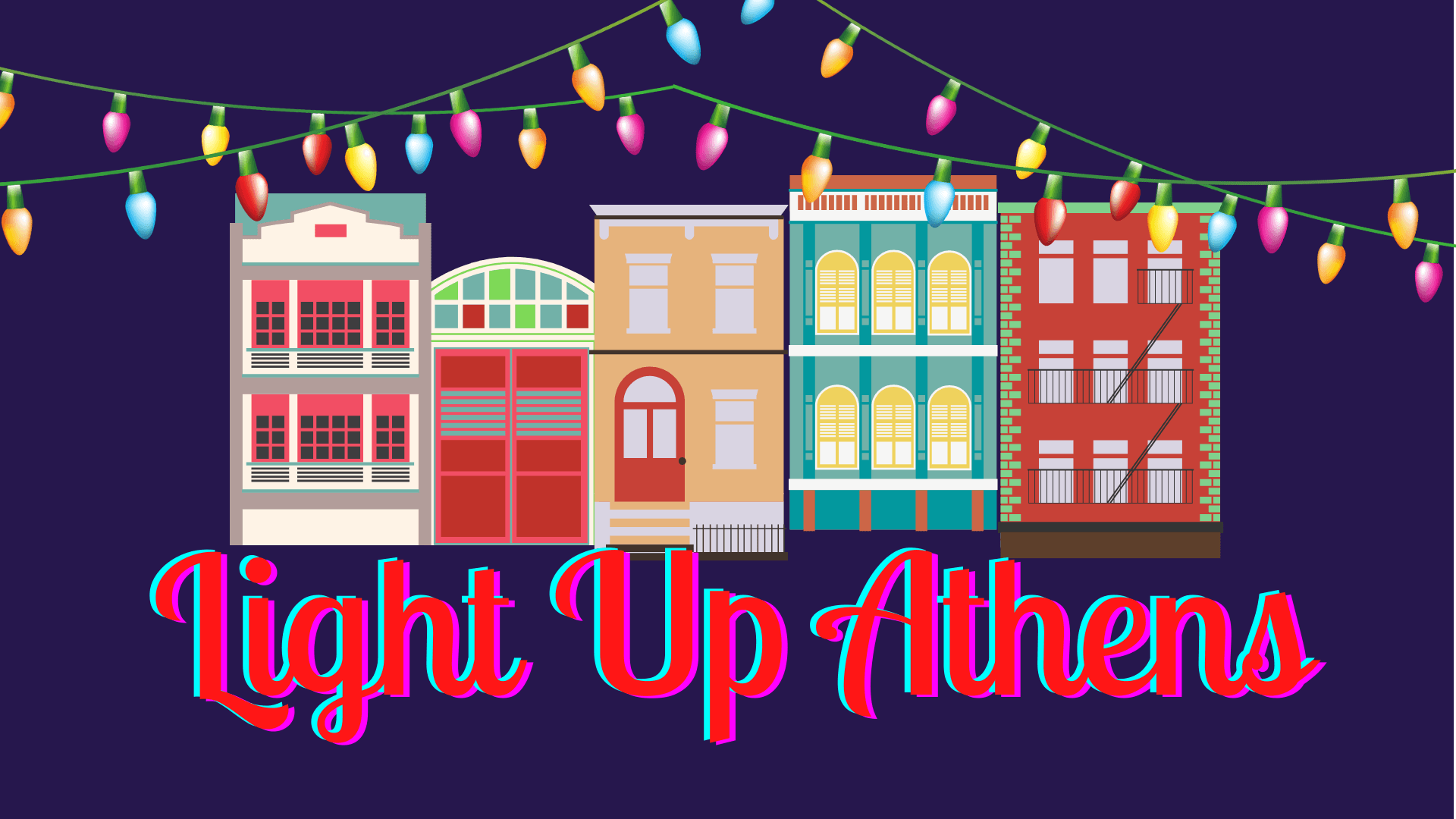 navy background, buildings and holiday lights in forefront