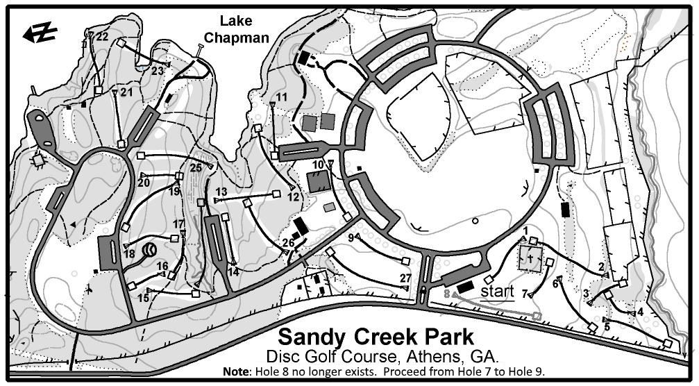 Map of the Disc Golf Course at Sandy Creek Park.