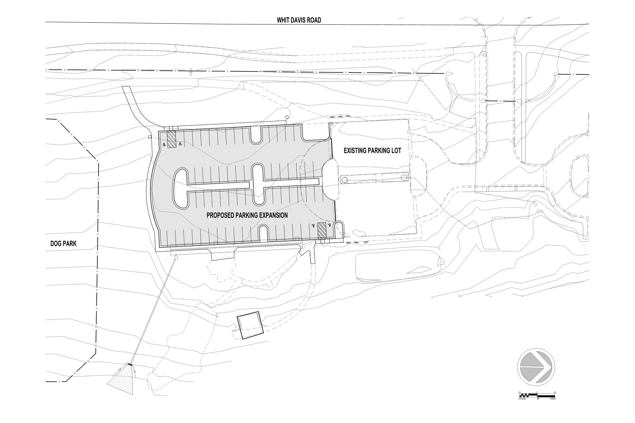 Diagram of the Whit Davis Parking Lot expansion project at Southeast Clarke Park.