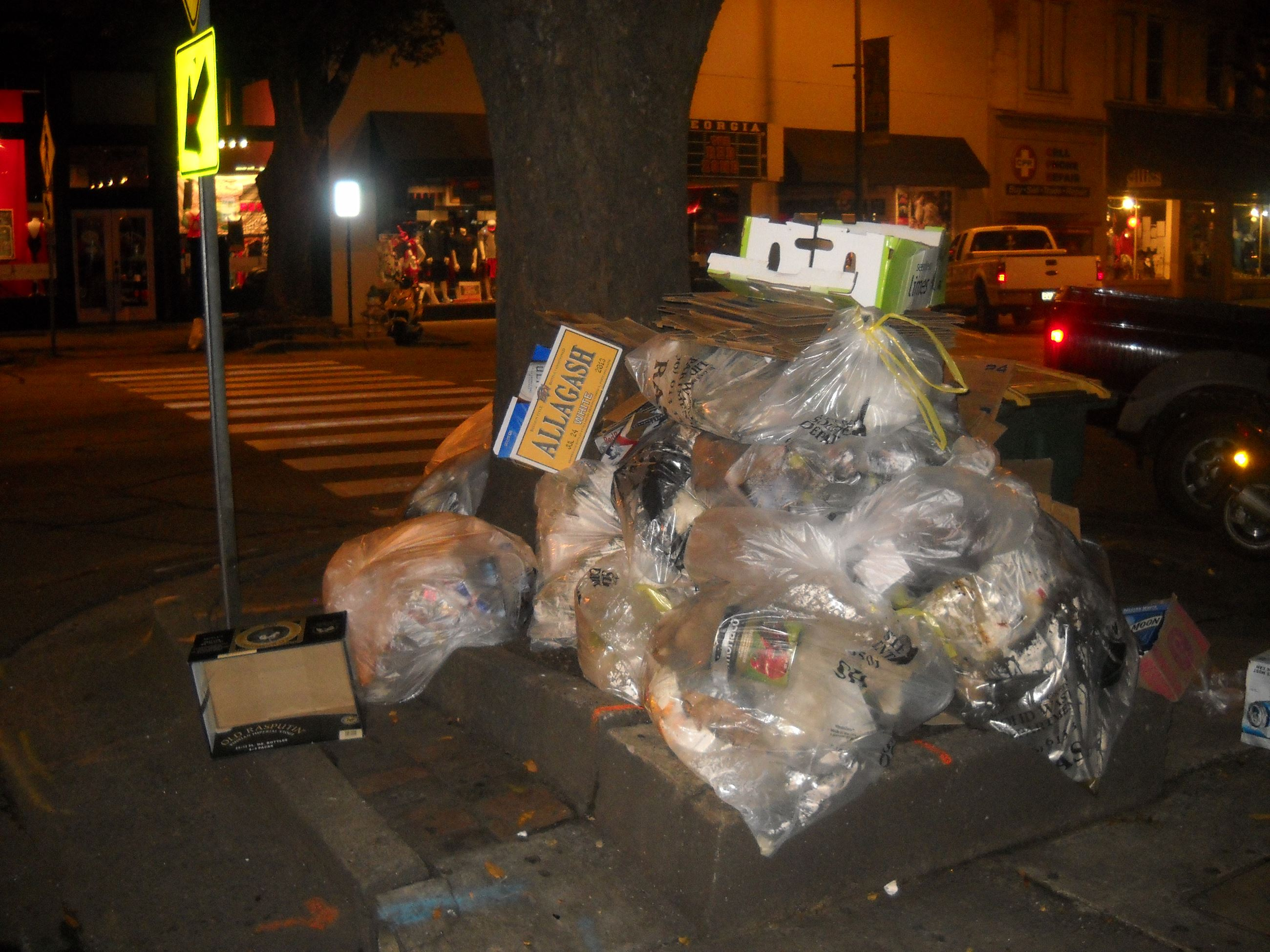 Trash on sidewalks