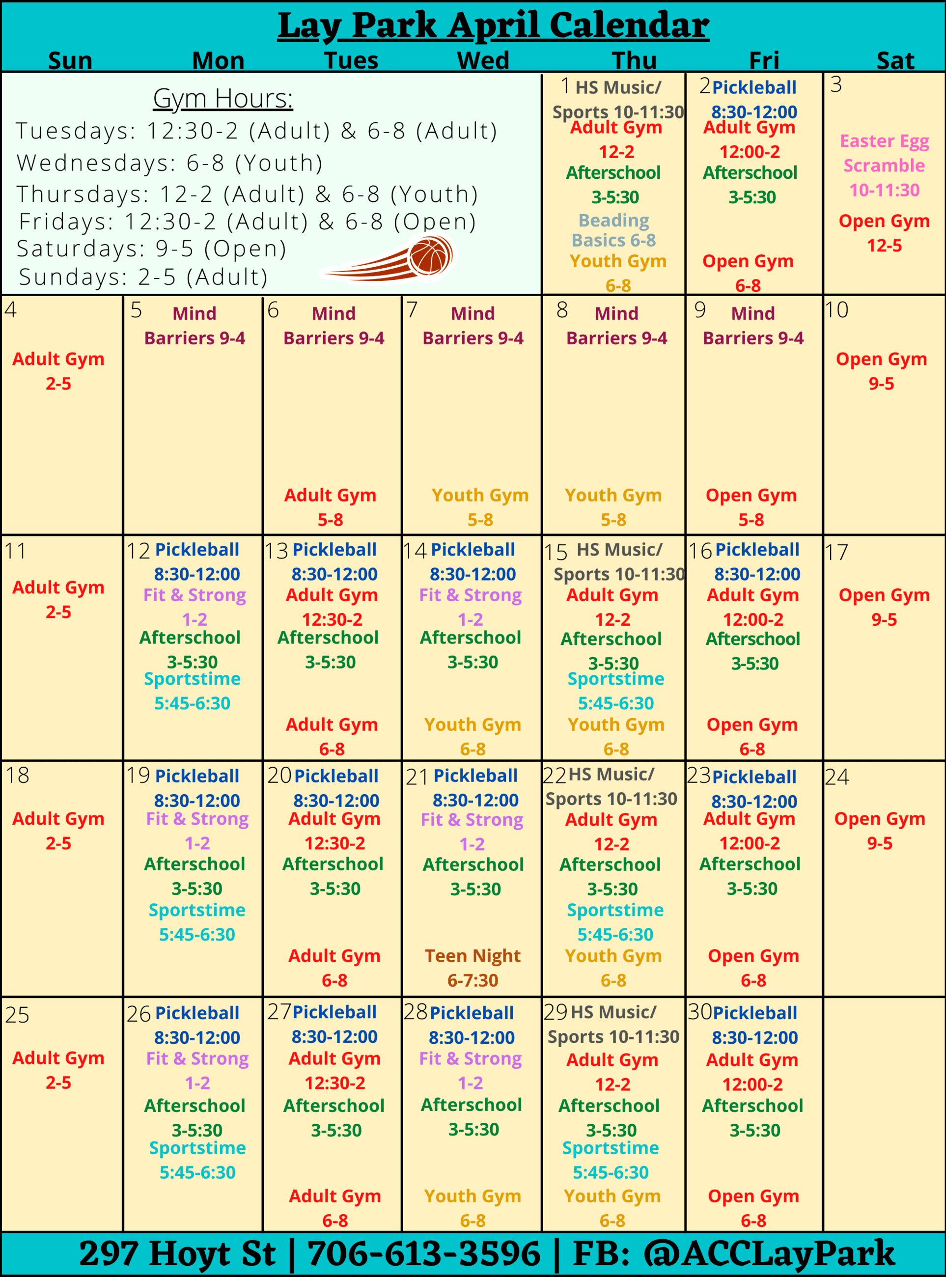Lay Park's calendar for April.