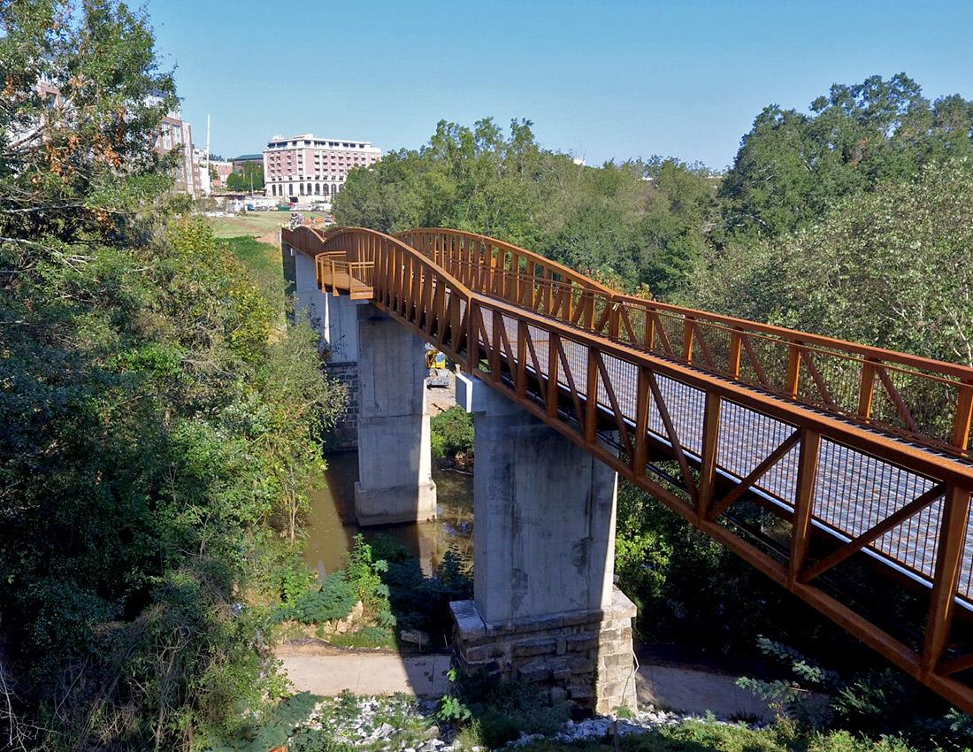 Aerial photo of the North Oconee River Bridge on the Firefly Trail.