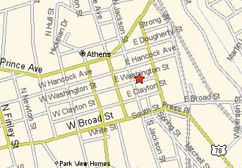 Map of downtown Athens marking the courthouse location